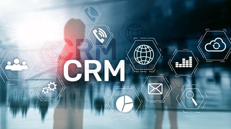 Conceito do serviço da análise da gestão de CRM do cliente empresa Gestão do relacionamento fotografia de stock