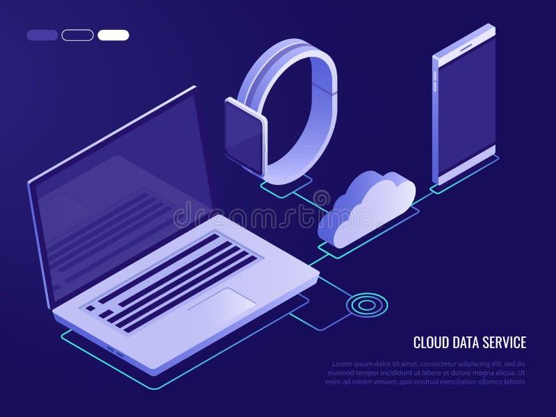 Conceito do serviço da nuvem para dispositivos móveis Processo de transferência de arquivo pela rede e de transferência no armaze ilustração do vetor