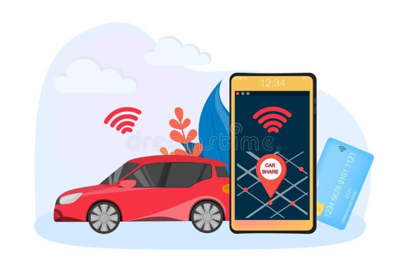 Conceito do serviço da partilha de carro Ideia do veículo ilustração do vetor