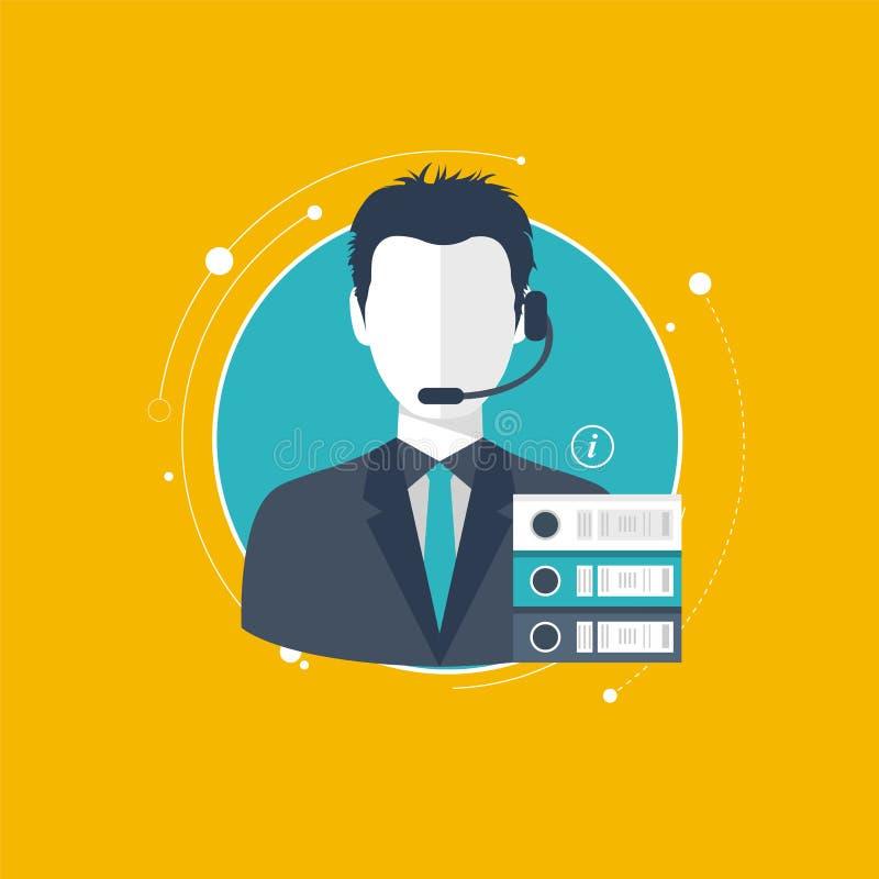 Conceito do serviço de assistência Ilustração lisa do projeto com ícones Assistente do suporte laboral ilustração stock
