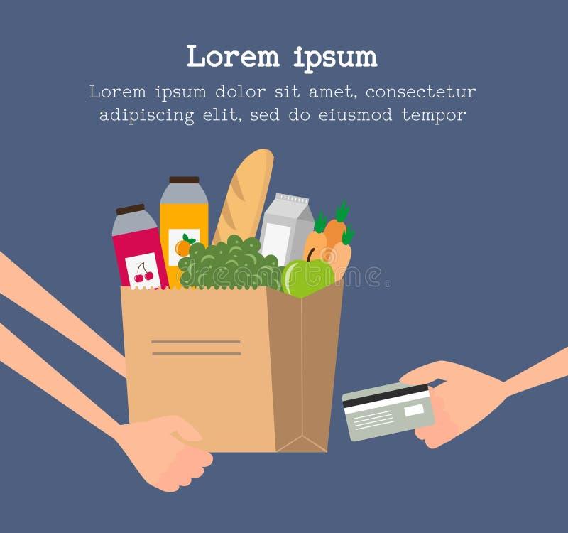 Conceito do serviço de entrega do mantimento com o saco de papel completo do alimento ilustração royalty free