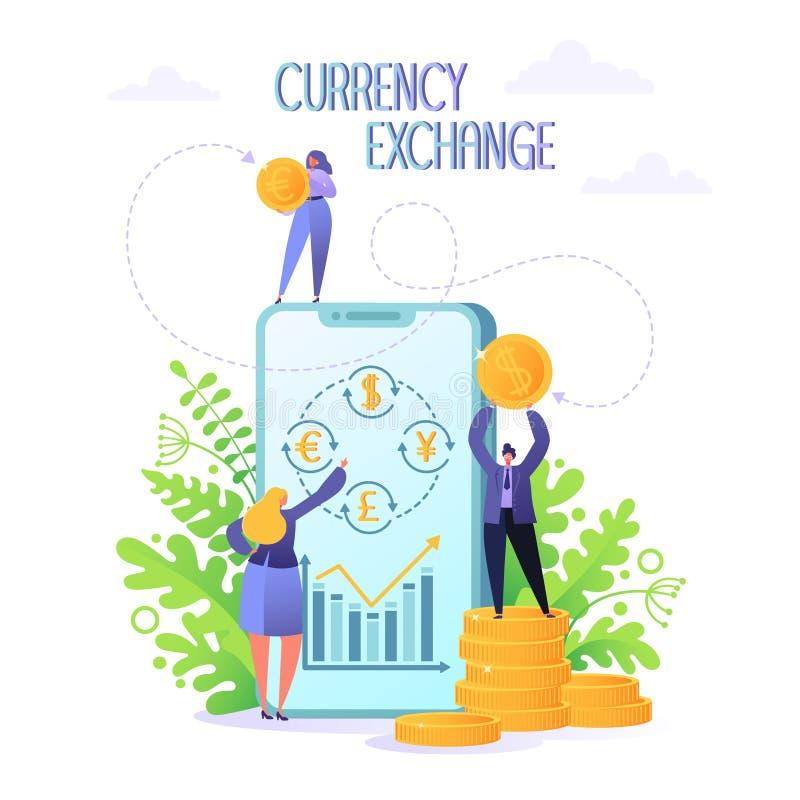 Conceito do serviço de troca móvel da moeda Executivos da moeda das mudanças usando o smartphone ilustração stock