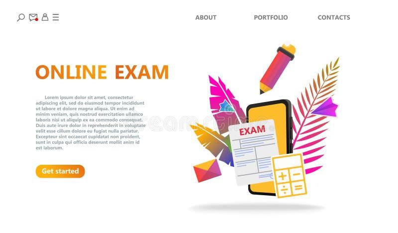 Conceito do serviço dos testes em linha ou do exame ilustração stock