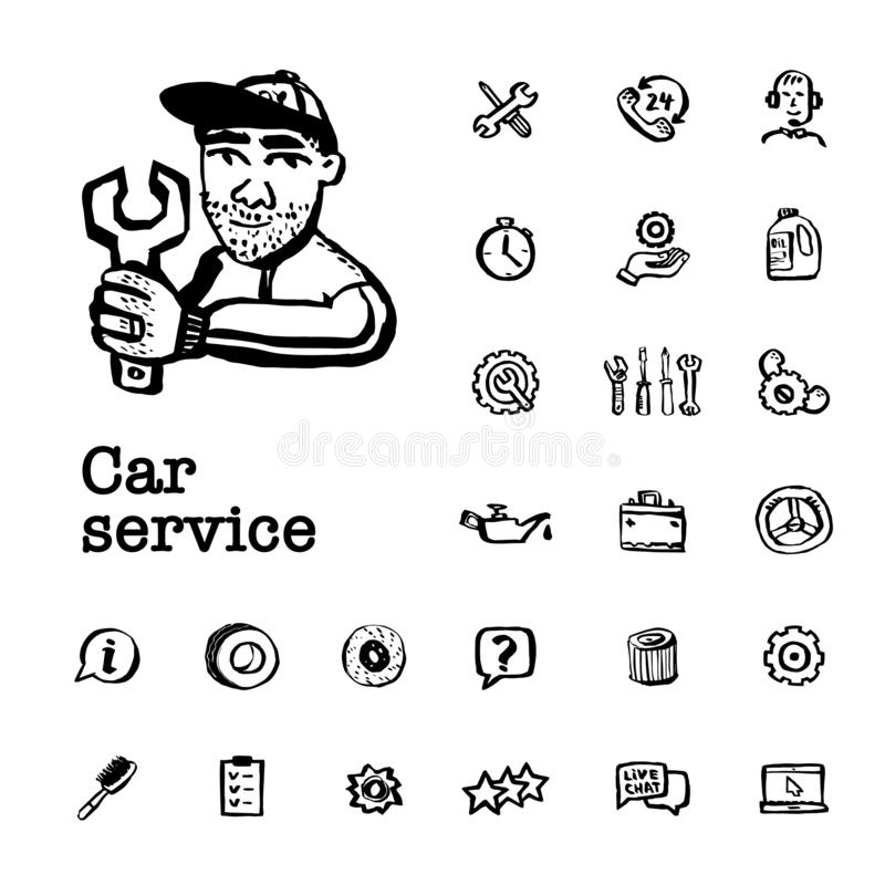 Conceito do servi?o do carro Ajustado com pe?as e ferramentas do carro, servi?o do carro, servi?o do pneu, reparo etc. do carro V ilustração stock