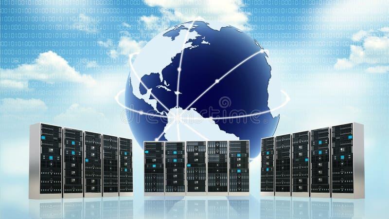 Conceito do servidor da nuvem do Internet ilustração do vetor