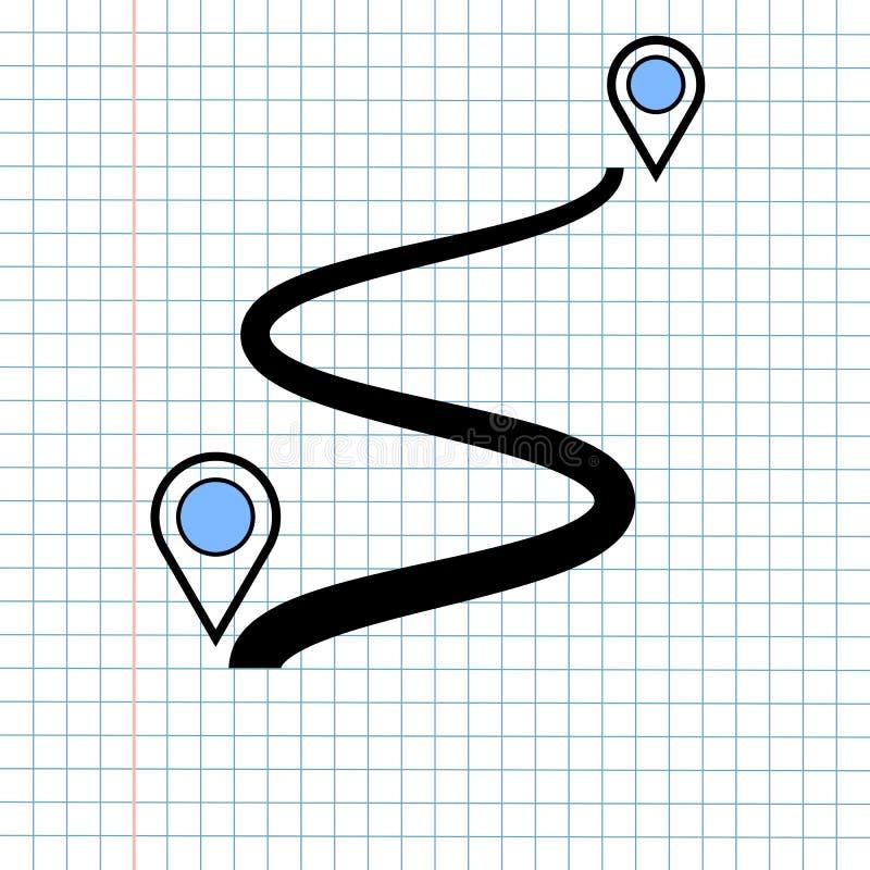 Conceito do sinal do ícone da navegação de GPS, projeto gráfico de vetor do navegador Symbol do sentido para o destino do curso , imagem de stock royalty free