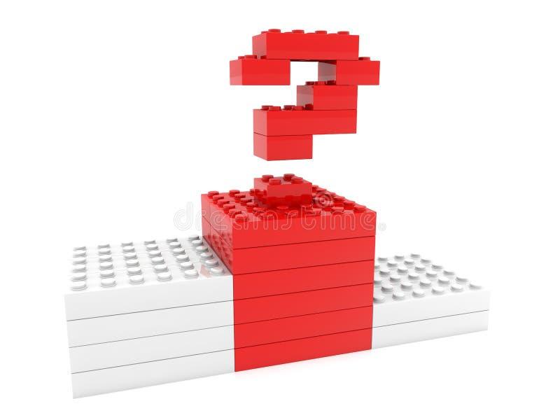 Conceito do sinal da pergunta construído dos tijolos do brinquedo ilustração do vetor
