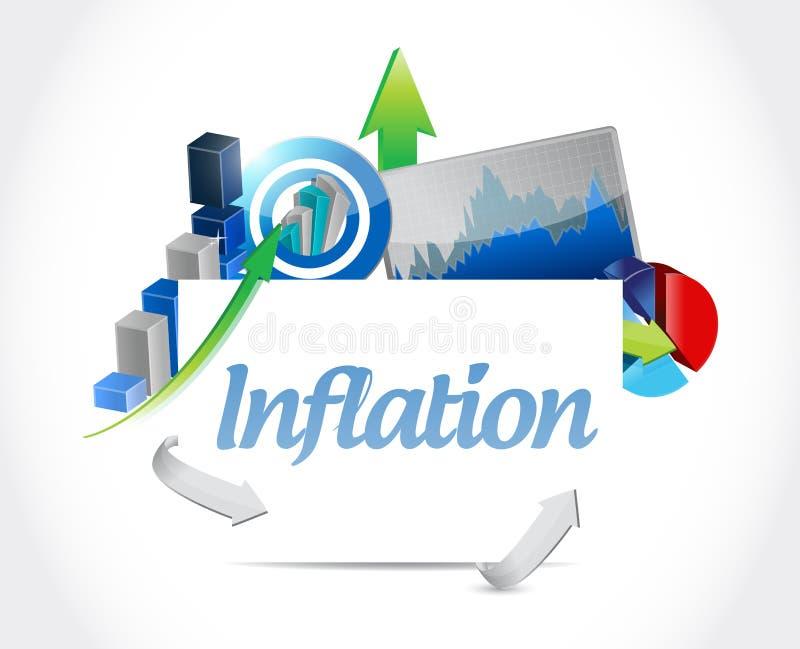 conceito do sinal das cartas de negócio da inflação ilustração royalty free