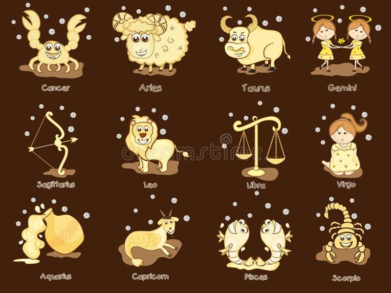 Conceito do sinal do zodíaco doze ou do horóscopo ilustração stock