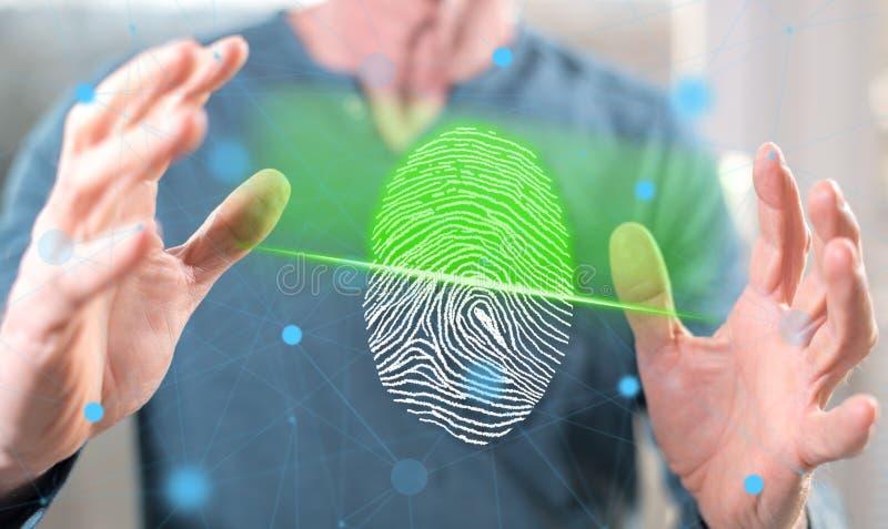 Conceito do sistema de segurança da impressão digital imagens de stock