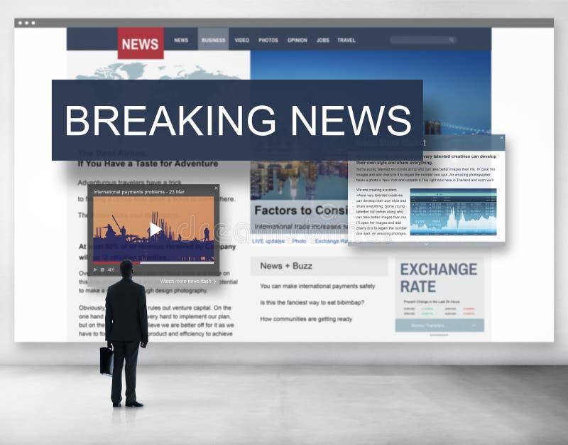 Conceito do Social do anúncio dos meios de notícias de última hora ilustração do vetor