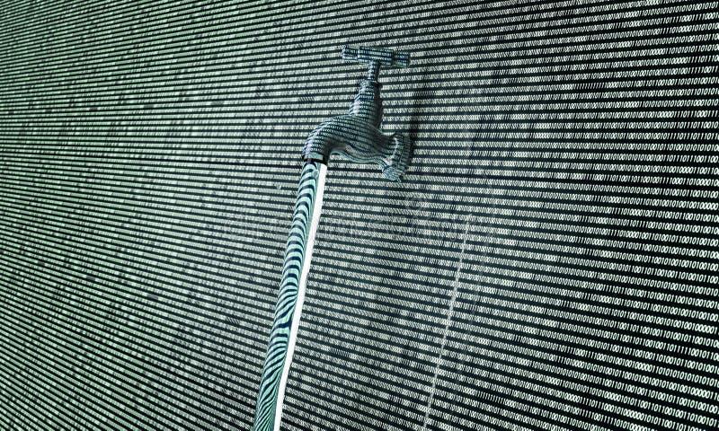 Conceito do software gotejante, dados com uma torneira que cola para fora ilustração do vetor