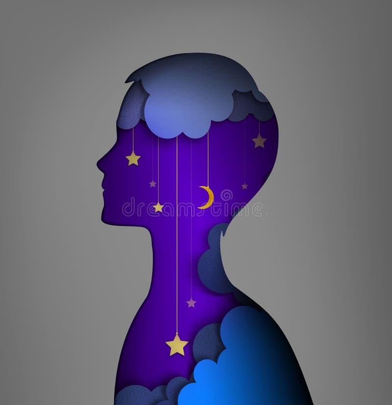 Conceito do sonhador, imagem das camadas, silhueta nova do menino com interior do céu noturno, ideia ideal da noite, ilustração royalty free