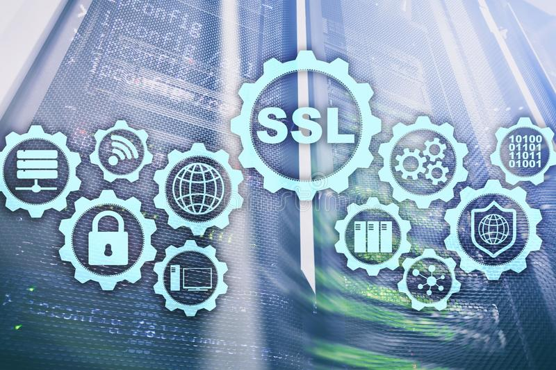 Conceito do SSL Secure Sockets Layer Os protocolos criptograficamente fornecem comunicações fixadas Fundo da sala do servidor fotos de stock