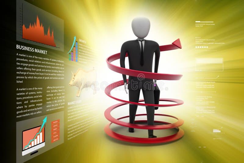 conceito do sucesso comercial do homem 3d ilustração royalty free