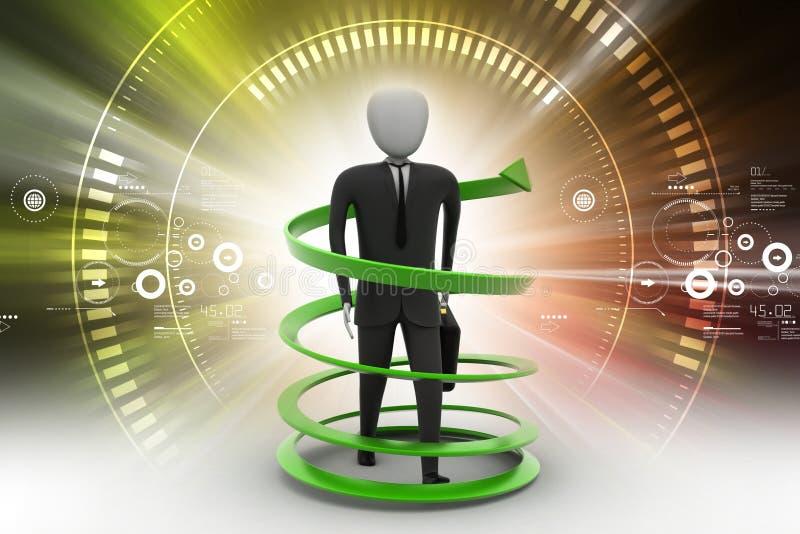 conceito do sucesso comercial do homem 3d ilustração do vetor