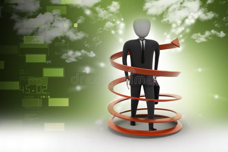 conceito do sucesso comercial do homem 3d ilustração stock