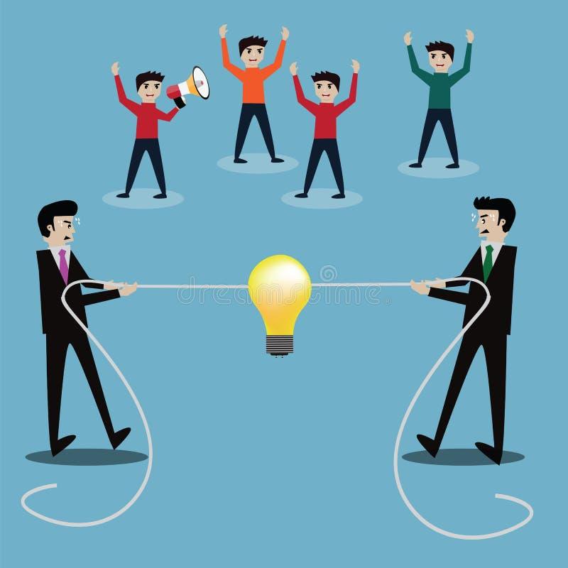 Conceito do sucesso comercial, homens de negócios na competição do conflito, f ilustração royalty free