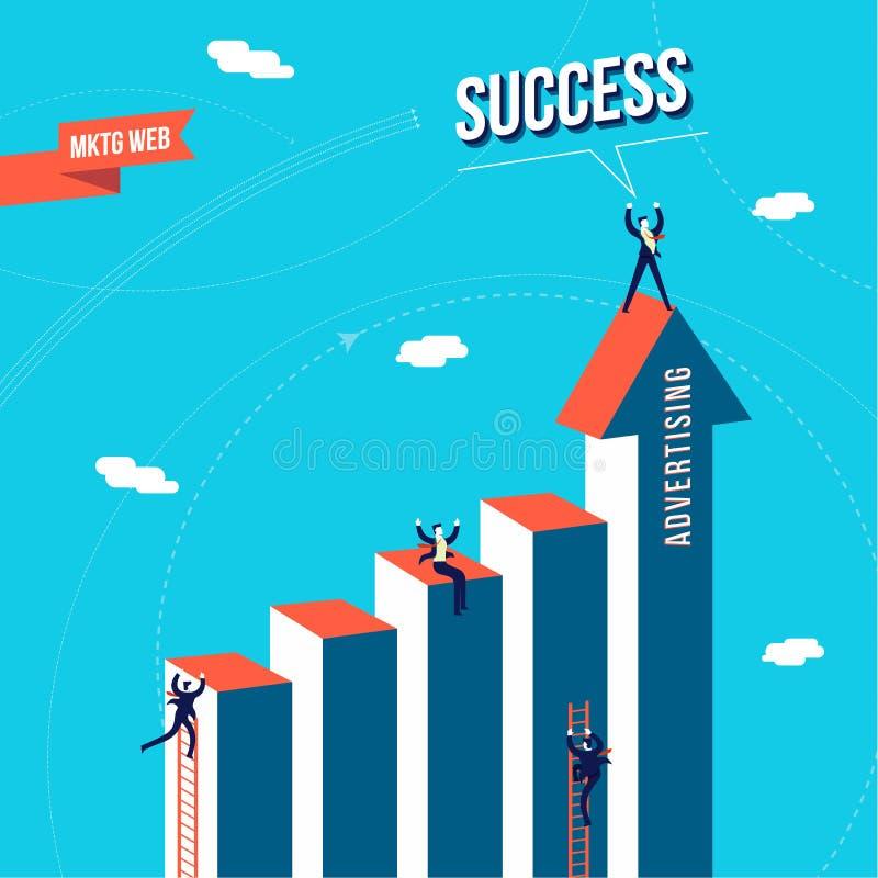 Conceito do sucesso da equipe do negócio da Web do mercado ilustração stock