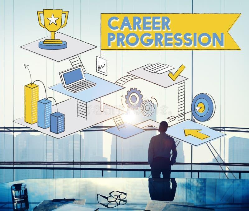 Conceito do sucesso da realização da promoção da progressão da carreira imagem de stock