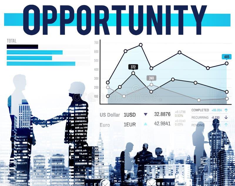Conceito do sucesso das estatísticas da realização da possibilidade da oportunidade imagens de stock