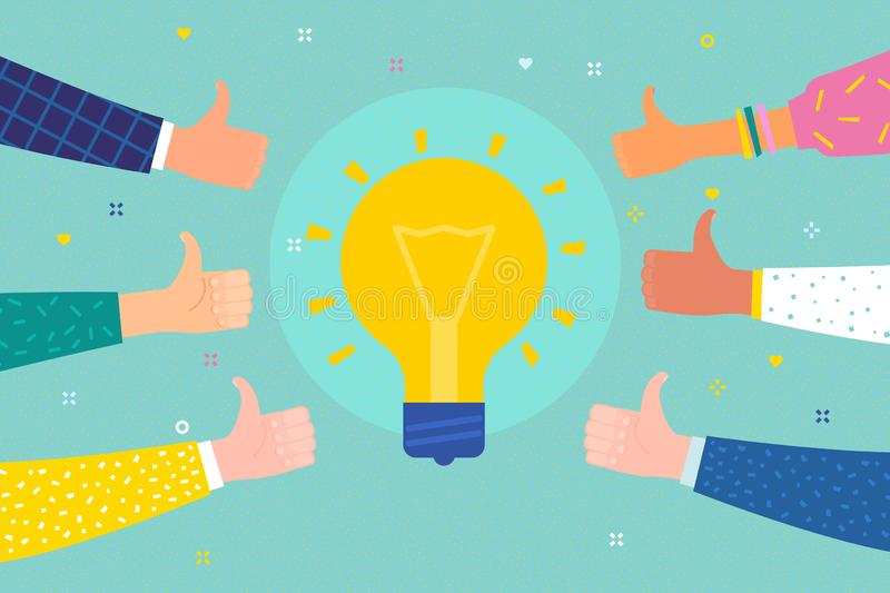 Conceito do sucesso e da ideia Homem de negócio alegre com símbolo da ideia ilustração do vetor