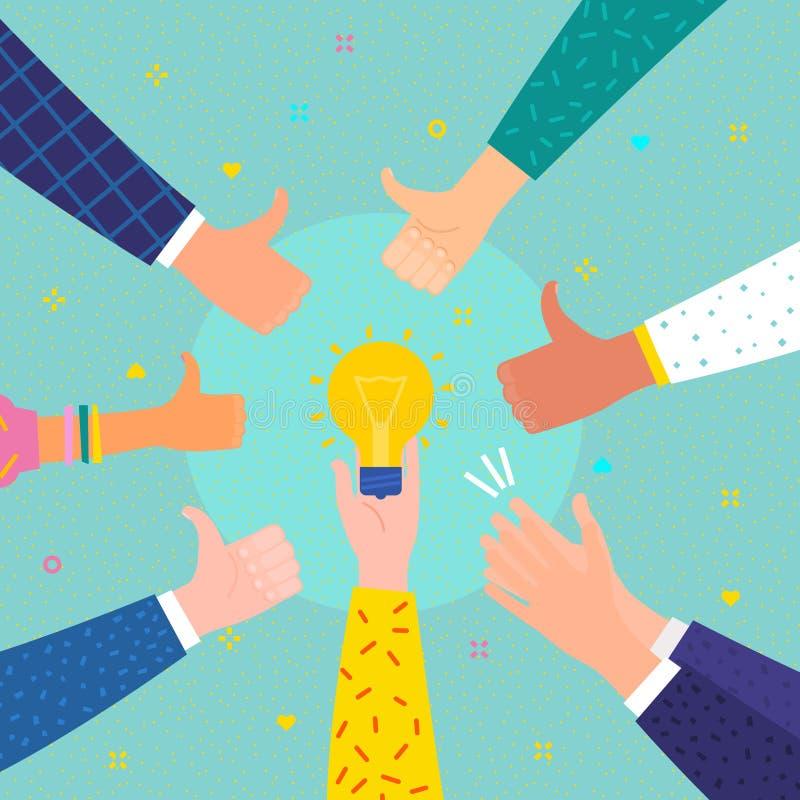 Conceito do sucesso e da ideia Homem de negócio alegre com símbolo da ideia ilustração stock