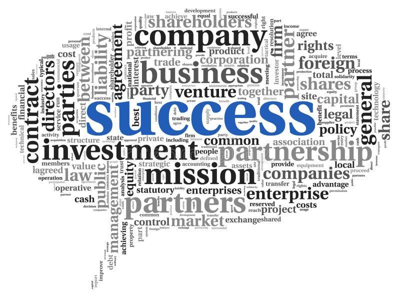 Conceito do sucesso na nuvem da etiqueta ilustração do vetor