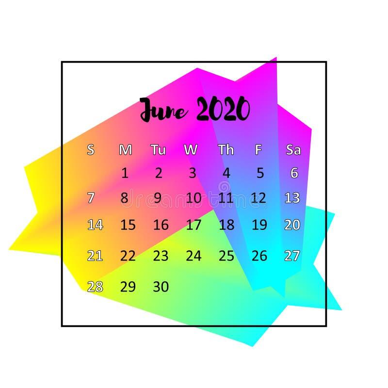 Conceito 2020 do sum?rio do projeto do calend?rio Em junho de 2020 ilustração do vetor