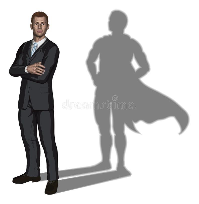 Conceito do super-herói do homem de negócios ilustração stock