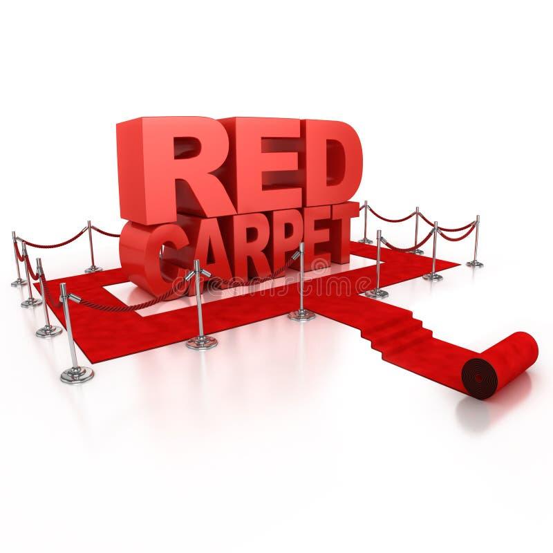 Conceito do tapete vermelho 3d ilustração stock