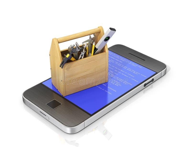 Conceito do telefone do serviço técnico e do reparo imagens de stock
