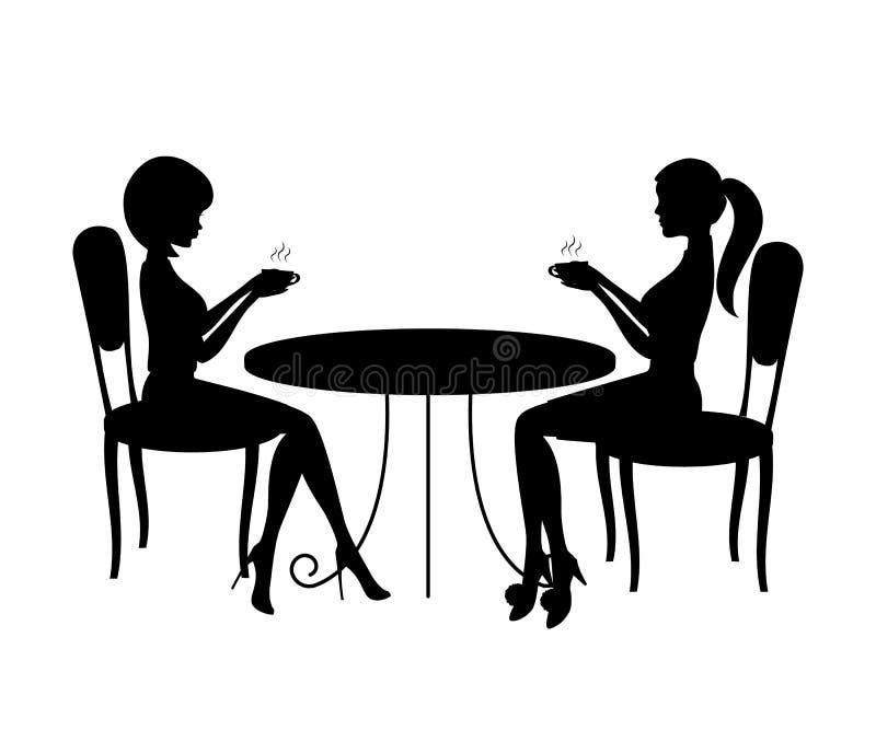 Conceito do tempo do café Há silhuetas de duas mulheres durante o tempo do café ilustração royalty free