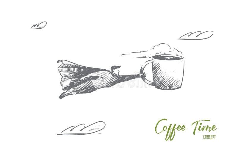 Conceito do tempo do café Vetor isolado tirado mão ilustração stock