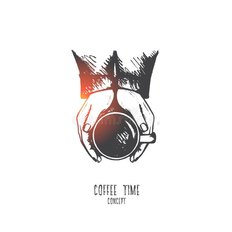 Conceito do tempo do café Vetor isolado tirado mão ilustração do vetor