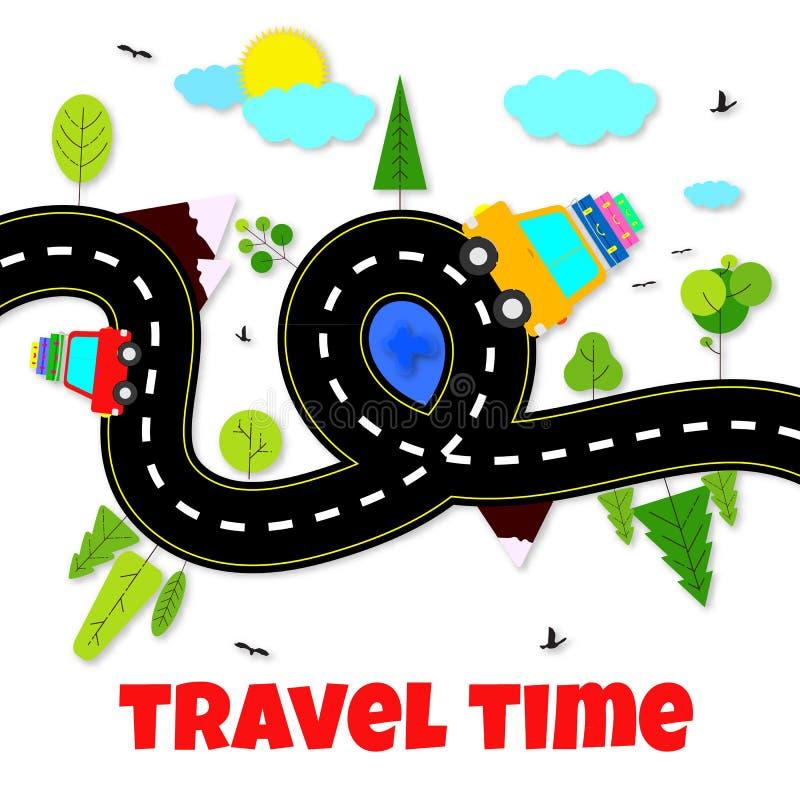 conceito do tempo de viagem Ilustração com a estrada cortada, carros, árvores, montanhas no fundo branco Projeto de papel da arte ilustração stock
