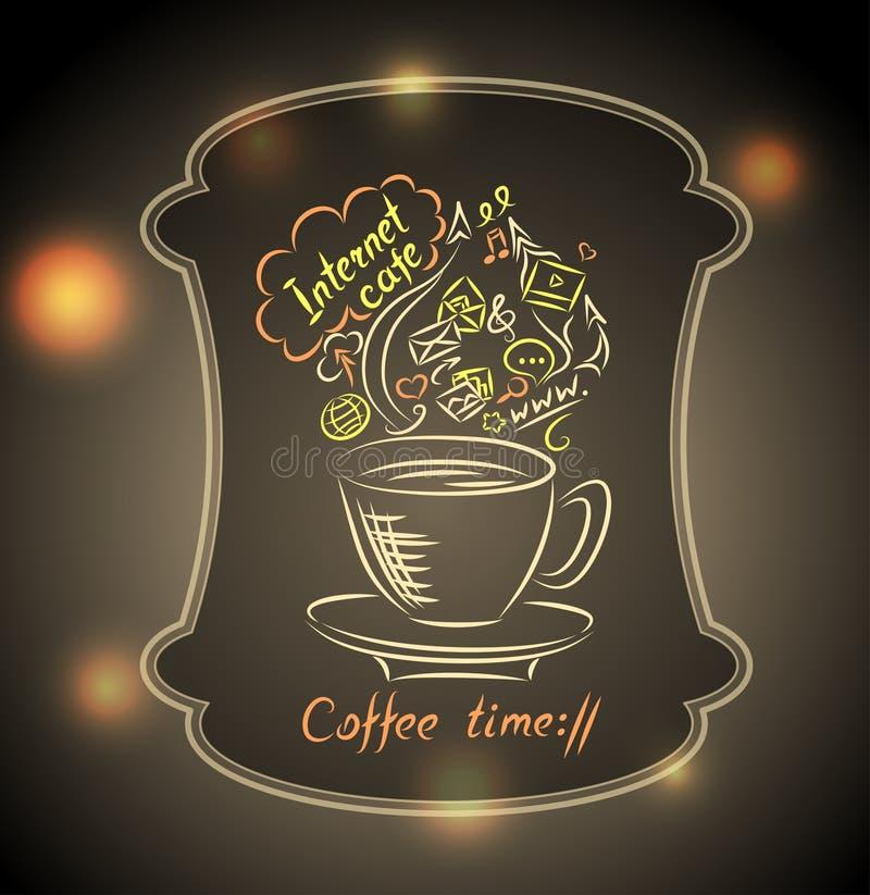 Conceito do tempo do café com vidro à terra no fundo da luz da cidade ilustração do vetor