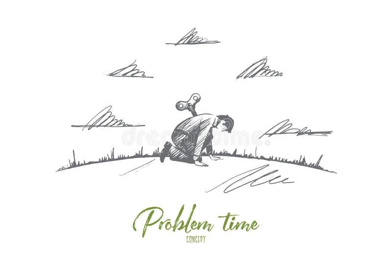 Conceito do tempo do problema Vetor isolado tirado mão ilustração do vetor