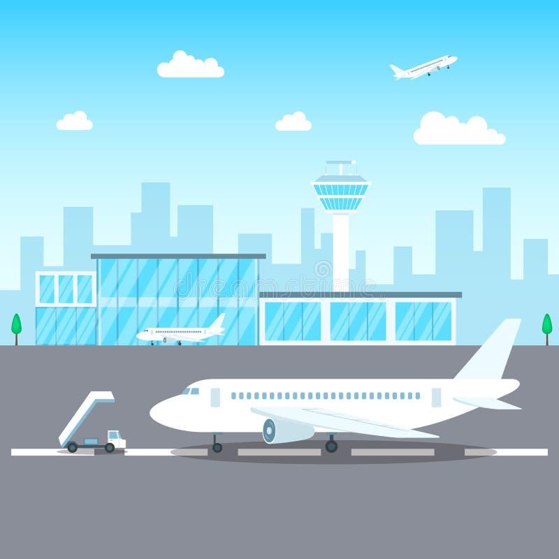 Conceito do terminal de passageiro do aeroporto em uma cena do fundo da paisagem Vetor ilustração royalty free