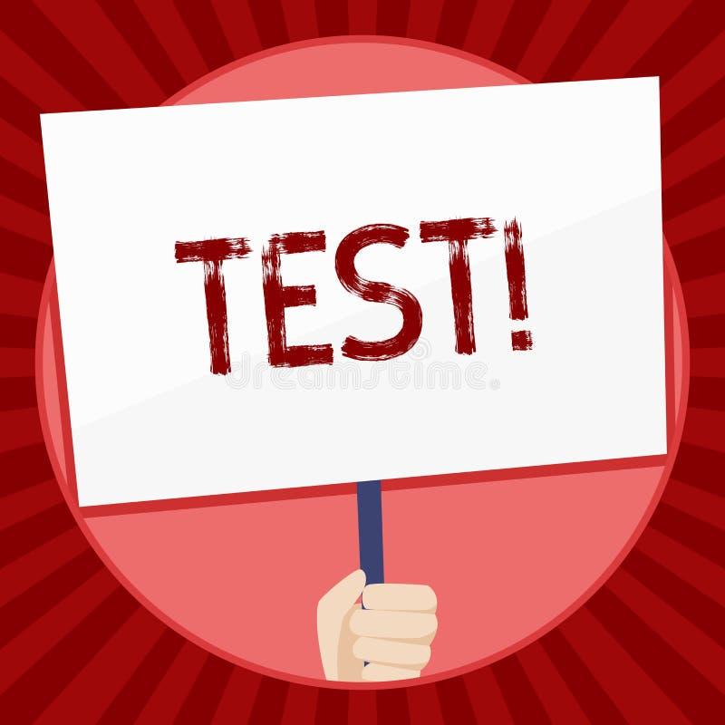 Conceito do teste do texto da escrita que significa o procedimento sistemático acadêmico avaliar a mão da proficiência da durabil ilustração stock