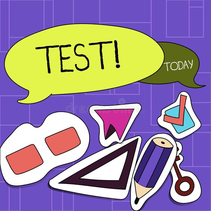Conceito do teste do texto da escrita que significa o procedimento sistemático acadêmico avaliar a placa da proficiência dois da  ilustração stock