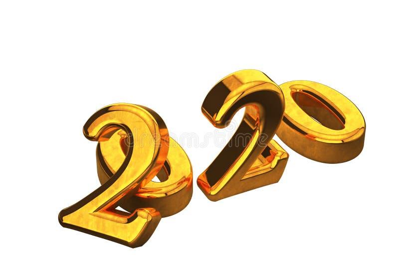Conceito do texto do ano novo do ouro 2020 isolado no fundo branco sem sombras 3d rendem ilustração stock