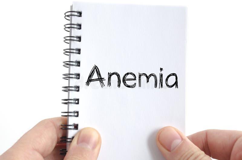 Conceito do texto da anemia foto de stock royalty free
