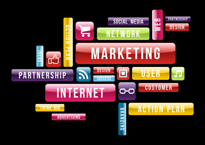 Conceito do texto da nuvem do mercado do Internet ilustração royalty free