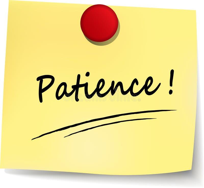 Conceito do texto da paciência escrito ilustração do vetor
