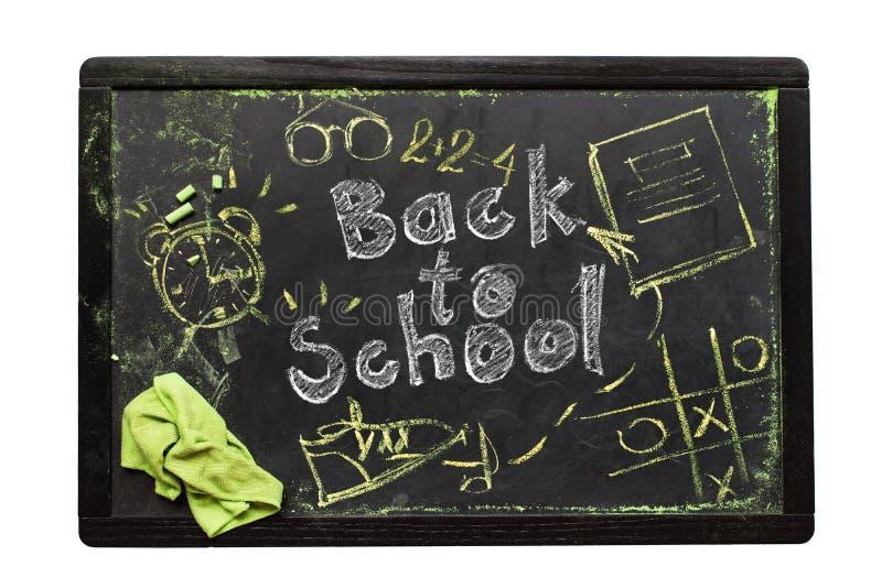 Conceito do texto da placa de volta ao símbolo do esboço da escola imagem de stock