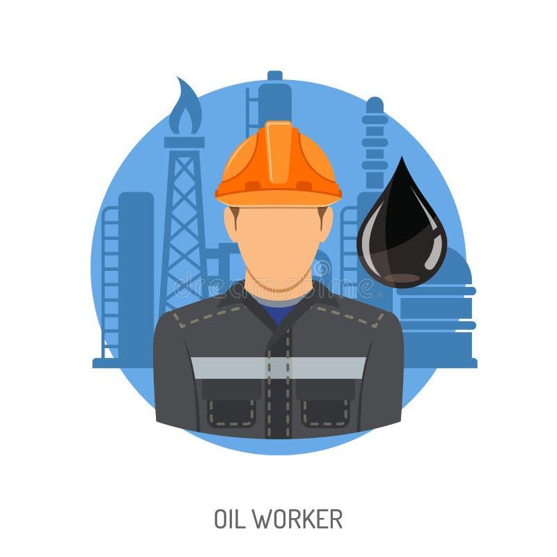 Conceito do trabalhador do óleo ilustração do vetor