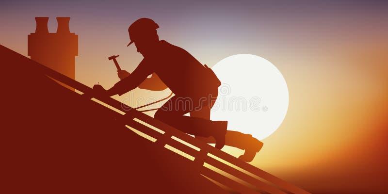 Conceito do trabalho arriscado com um carpinteiro que trabalha em um telhado ilustração stock
