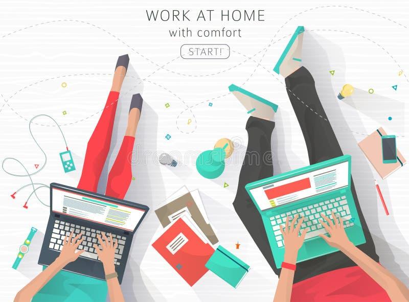 Conceito do trabalho na casa ilustração royalty free