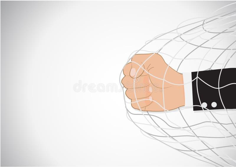 Conceito do trammel do perfurador de Hand do homem de negócios ilustração do vetor